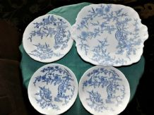 RARE VINTAGE COALPORT BLUE DRAGON CHINESE BLOSSOM CAKE PLATE + SIDE & 2 DISHES